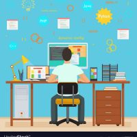 man-programmer-back-working-on-his-pc-computer-vector-11777595